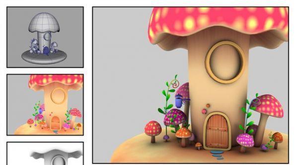 一个卡通蘑菇小房子MAYA模型