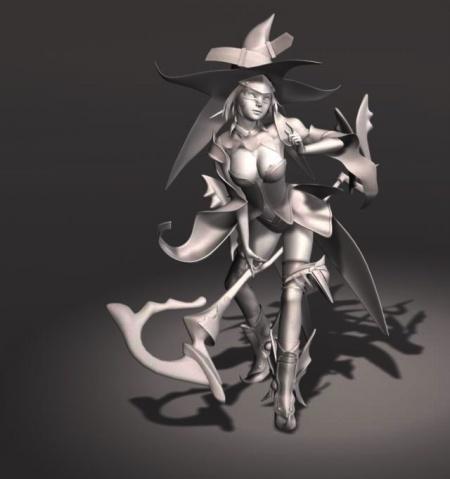 MAYA性感的小巫女模型下载