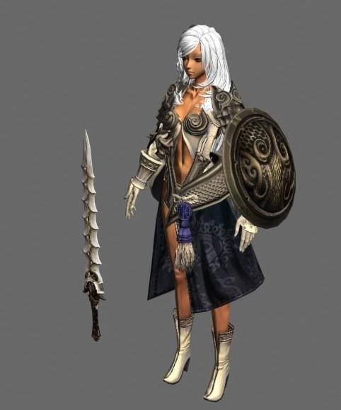 《剑灵》白发女战士模型下载