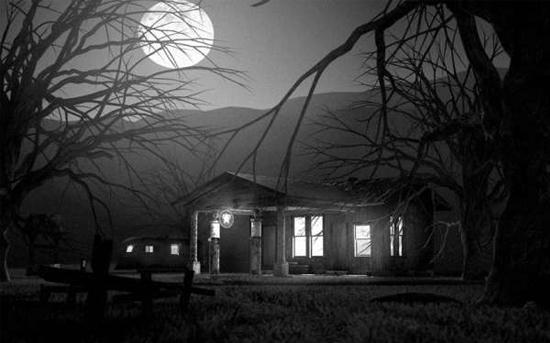 月亮夜景别墅场景模型下载
