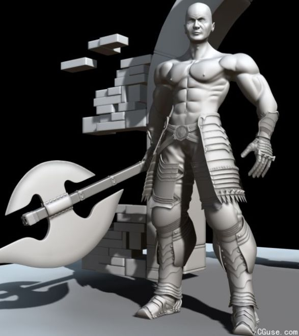 拿斧头的男人战士模型  游戏角色  步兵战士装备