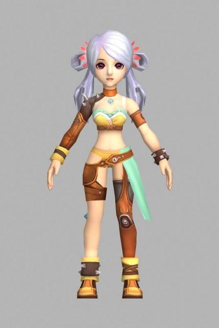 一个可爱女孩模型  游戏角色模型