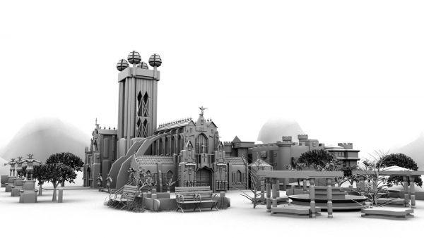 maya教堂模型制作下载