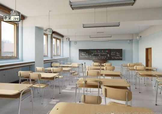 室内教室场景模型+课桌椅子