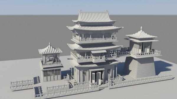 中国古城场景MAYA模型