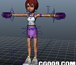 拉拉队美女maya模型 带绑定的卡通人物