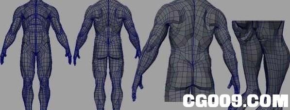 男人体标准模型MAYA模型-从布线 、技法、结构,