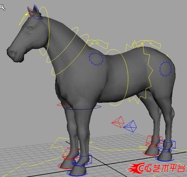 设置好的有表情的马MAYA模型下载