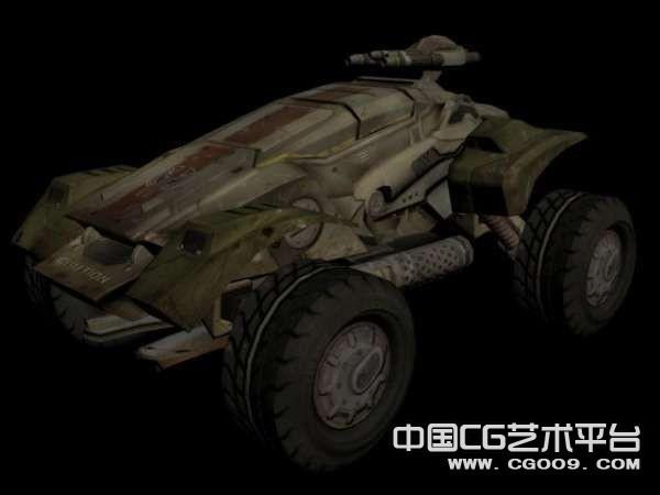重金属绿色装甲车3D模型  探险车模型下载   坦克