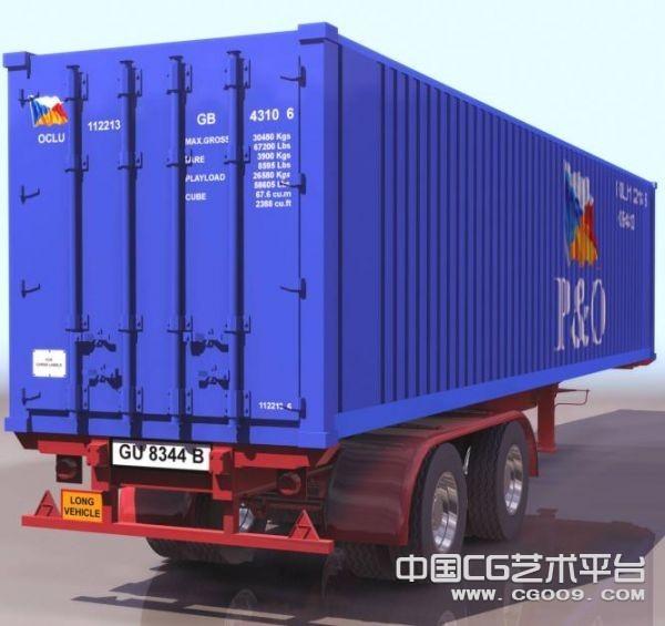 高精卡车 集装箱3D模型下载   集装箱运输车