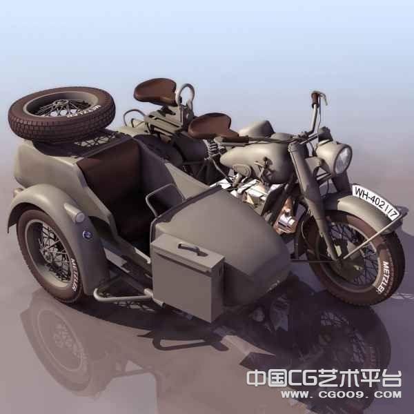 军用双座摩托车3D模型下载  绿色军用车