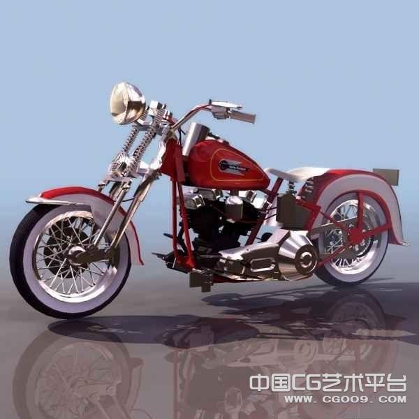 复古风格 摩托车  红色复古3D摩托车模型