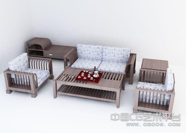 中式沙发模型一套   古典素雅沙发一套模型