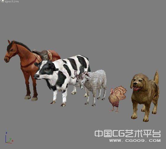 一群常见的动物集合模型下载  鸡鸭 狗羊 牛马3D