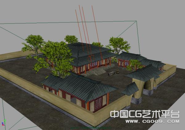 四合院古建筑群3D模型下载