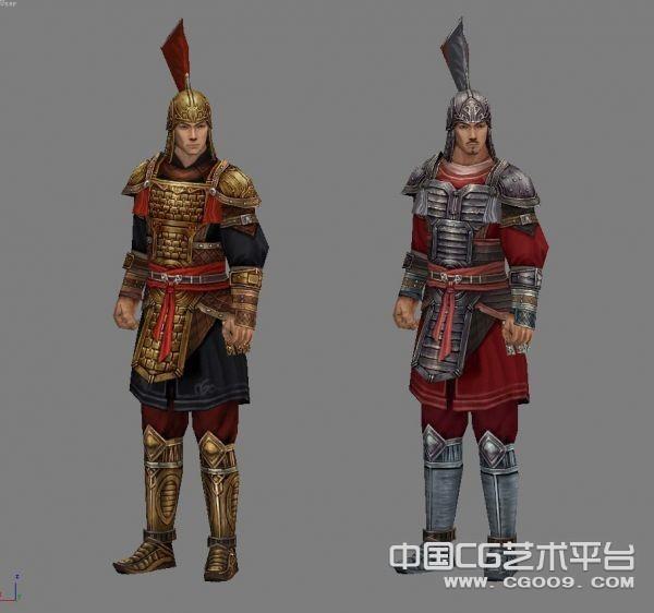 穿盔甲的古代士兵3D模型下载  古代将军套装模型