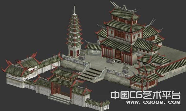 一坐完整的寺庙建筑3D模型下载   有贴图