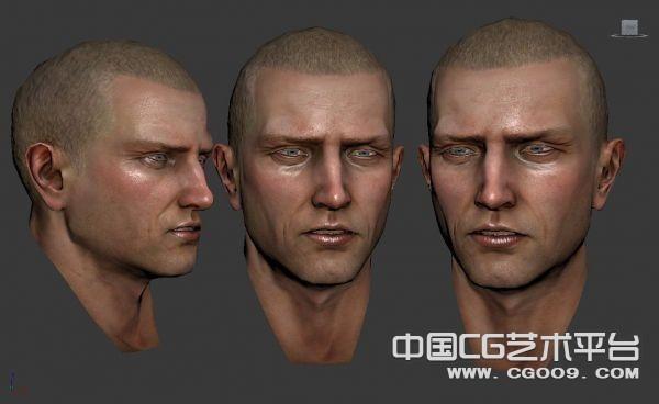 高精次时代男人头部精细3D模型下载