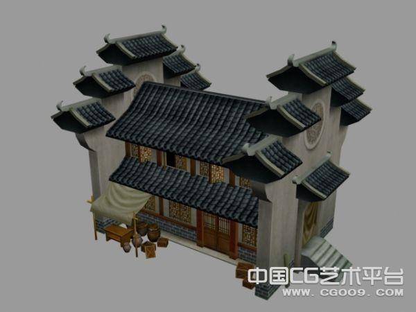 古代建筑群3D模型下载    古代府邸建筑模型