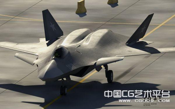 """四代幻想""""潜龙""""战斗机歼20战机3D模型下载"""