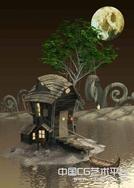 湖畔小屋3D场景模型下载