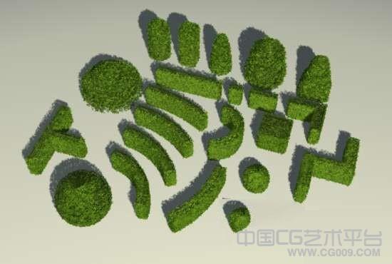一组花园不同形状的3D灌木模型集合下载(总共十