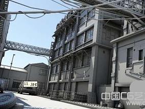 卡通风格街道场景模型下载 有完整贴图