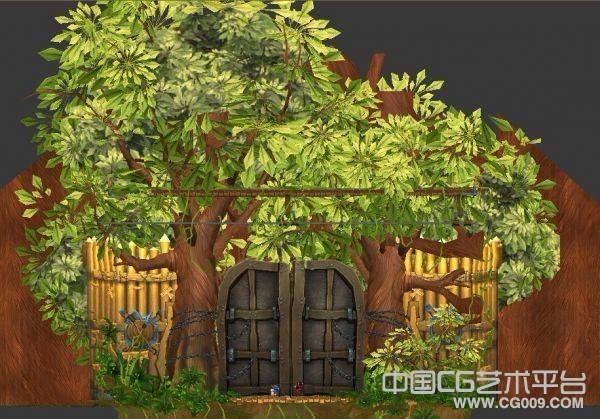 屋前大树木门栅栏黄土绿草3D场景模型下载