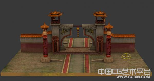 古典回廊3D建筑模型下载