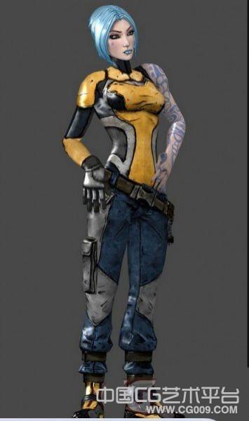 赛博朋克女  无主之地2 Borderlands2  人物模型下载
