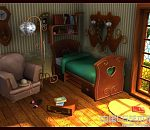 卡通复古小卧室场景3D模型下载