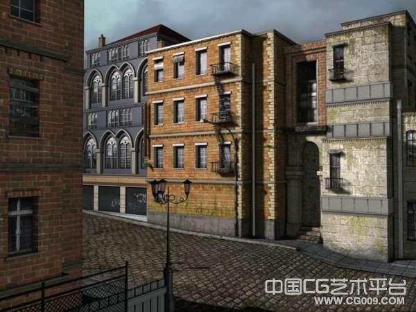 带高清贴图的街道建筑3D模型下载