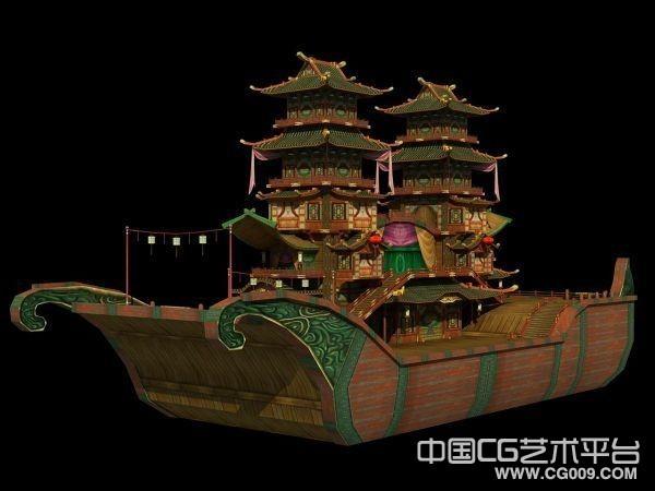 精致画舫木船3D模型下载