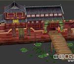 古代大型歌舞船3D模型  大型木船 豪华古船