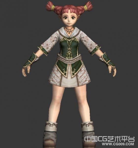 俏皮可爱女孩3D游戏角色模型