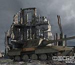 战争废墟中的坦克3D场景模型