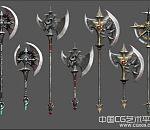 tera武器斧子、短槌、骑士矛与盾武器大全模型下