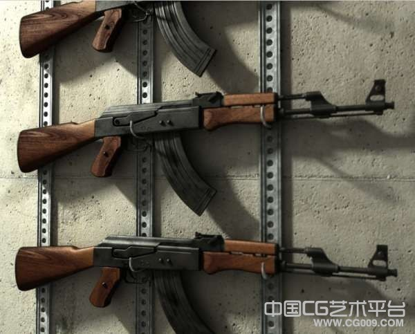 AK-47突击步枪3D模型下载