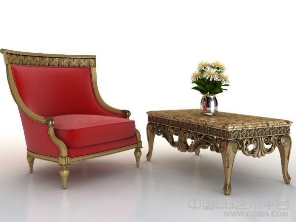 欧式单人沙发及茶几全套3D模型下载