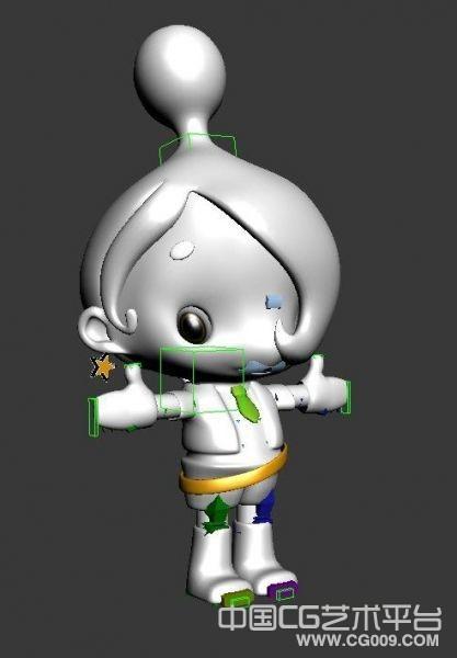一个卡通娃娃3D模型下载  有骨骼 有动作