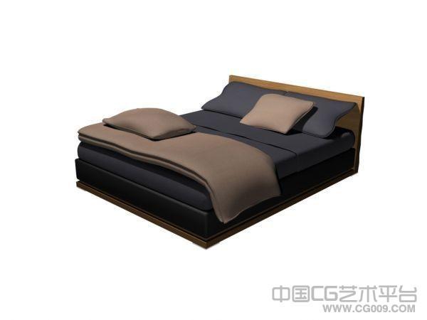 一个床3D模型  3D床模型下载