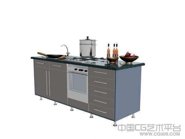 厨房用具 橱柜模型  锅碗瓢盆3D模型下载