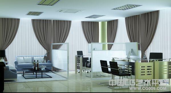 高档办公室室内3D模型下载