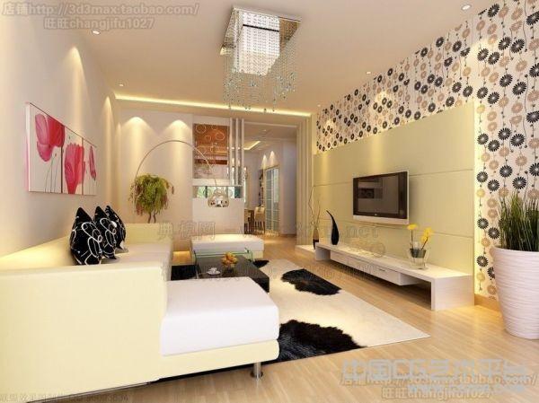 米黄色格调的客厅室内装修3D效果 客厅3d模型下