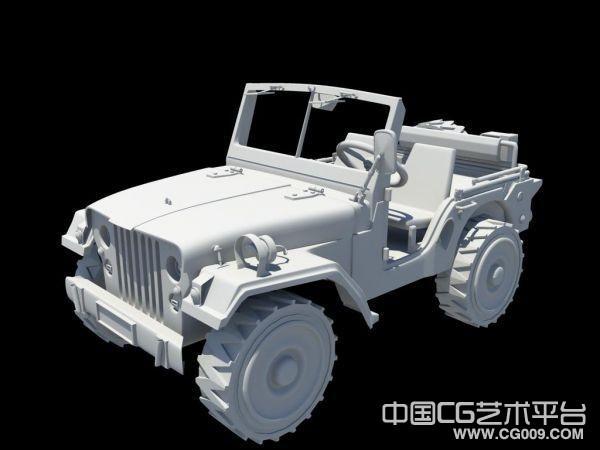 老式军用吉普车3d模型下载