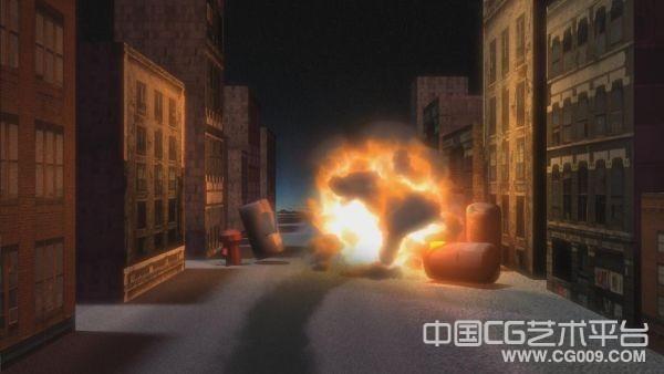 街道爆炸场景模型下载  maya爆炸特效文件