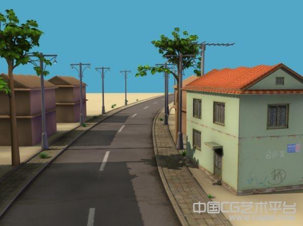 一个很不错的maya动画场景模型   公路3d场景