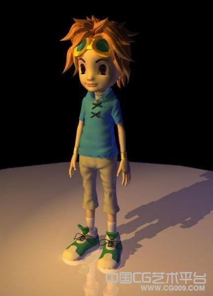 金发卡通小男孩maya角色模型下载