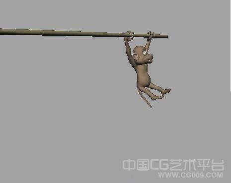 小猴子树上跳跃maya动画文件下载