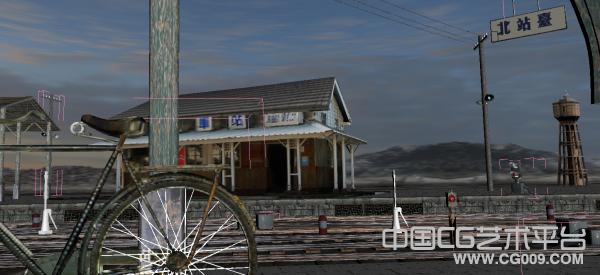 民国时期的中国火车站场景模型下载  老火车站